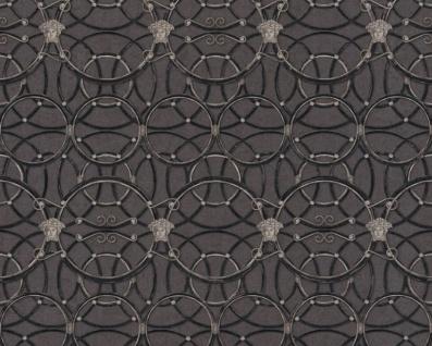 Versace Designer Barock Vliestapete IV 37049-4 - Schwarz / Anthrazit / Silber - Design Tapete - Hochwertige Qualität