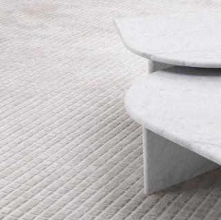 Casa Padrino Luxus Wohnzimmer Teppich Silber Sandfarben 200 x 300 cm - Moderner handgewebter rechteckiger Viskose Teppich - Luxus Qualität