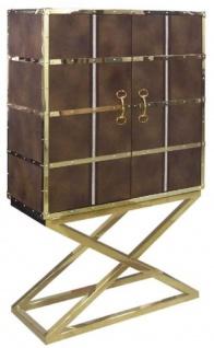 Casa Padrino Luxus Barschrank Braun / Gold 108 x 48 x H. 180 cm - Edler Weinschrank mit 2 Türen - Luxus Bar Möbel