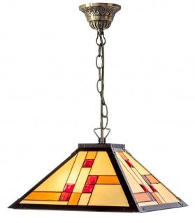 Casa Padrino Luxus Tiffany Hängeleuchte Schwarz / Mehrfarbig 40 x 40 cm - Handgefertigte Pendelleuchte aus 64 Teilen