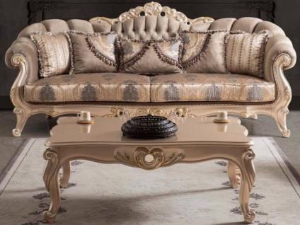 Casa Padrino Luxus Barock Wohnzimmer Sofa mit Kissen Taupe / Bronze / Gold 243 x 89 x H. 106 cm - Barock Möbel