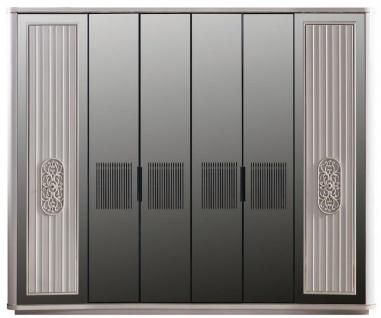 Casa Padrino Luxus Art Deco Schlafzimmerschrank Weiß / Schwarz 265 x 67 x H. 220 cm - Edler Massivholz Kleiderschrank mit 6 verspiegelten Türen - Schlafzimmer Möbel - Luxus Qualität