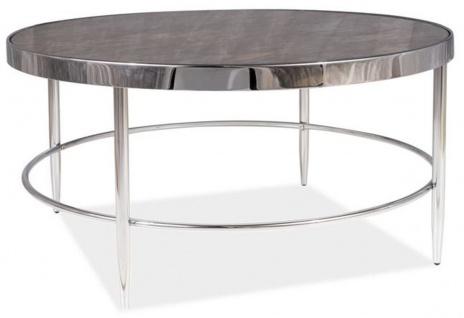 Casa Padrino Luxus Couchtisch Silber / Grau Ø 82 x H. 40 cm - Runder Wohnzimmertisch mit Glasplatte in Marmoroptik - Wohnzimmer Möbel