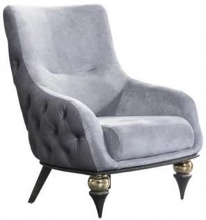 Casa Padrino Luxus Art Deco Chesterfield Sessel Hellgrau / Schwarz / Messingfarben 80 x 95 x H. 100 cm - Wohnzimmer Möbel