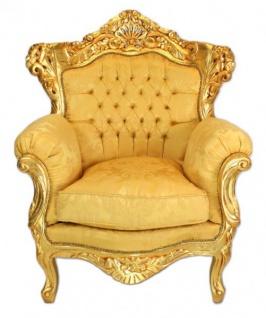 Casa Padrino Barock Wohnzimmer Set Gold Bouquet Muster / Gold - 3er Sofa + 2 Sessel - Vorschau 2