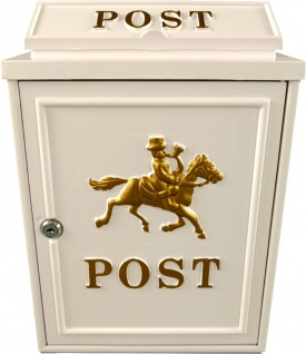Casa Padrino Jugendstil Wandbriefkasten Post Pferdemotiv Weiß Gold Antik - Antik Stil Briefkasten Postkasten Pferd