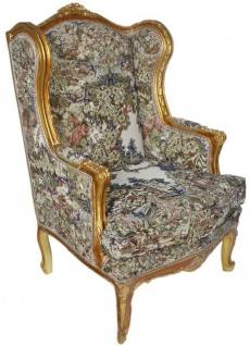 Casa Padrino Barock Ohrensessel Mehrfarbig / Antik Gold 80 x 75 x H. 120 cm - Antik Stil Wohnzimmer Sessel - Barock Möbel