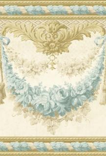 Casa Padrino Barock Papiertapete Beige / Gold / Türkis - 5, 00 x 0, 61 m - Prunkvolle Mustertapete mit Blumen Design und wunderschönen Verzierungen