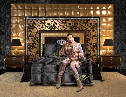 Harald Glööckler Designer Seiden Luxus 3 Kammer Kopfkissen 80 x 80 cm Schwarz / Gold + Casa Padrino Luxus Barock Bleistift mit Kronendesign - Vorschau 5