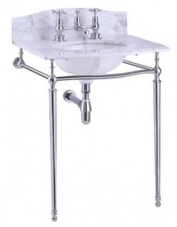 Casa Padrino Luxus Jugendstil Stand Waschtisch Weiß / Chrom mit Marmorplatte B 65cm mit Spritzschutz hinten - Art Deco Waschbecken Barock Antik Stil
