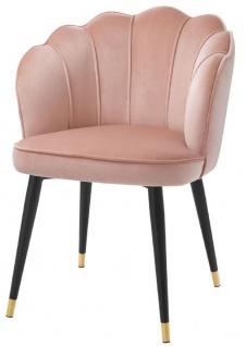 Casa Padrino Luxus Samt Esszimmerstuhl mit Armlehnen Rosa / Schwarz / Gold 60 x 63 x H. 83 cm - Küchenstuhl im Muschelschalen Design