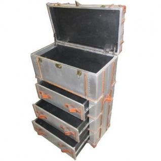 Casa Padrino Art Deco Vintage Koffer Schrank Kommode Aluminium / Leder - Vintage Look Flieger Kommode - Vorschau 3