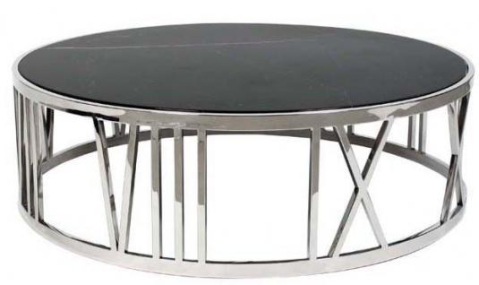 Casa Padrino Luxus Art Deco Couchtisch Rund Edelstahl poliert mit Marmor Platte - Luxus Kollektion