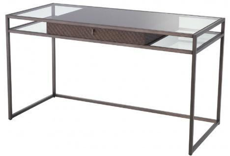 Casa Padrino Luxus Schreibtisch mit Schublade Bronze 135 x 60 x H. 75, 5 cm - Luxus Qualität - Luxus Büromöbel