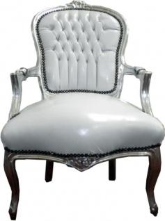 Casa Padrino Barock Salon Stuhl Weiß / Silber Lederoptik - Möbel Antik Stil