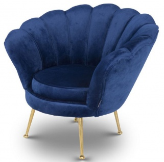 Casa Padrino Designer Kinder Samt Sessel Blau / Messingfarben 96 x 79 x H. 78 cm - Luxus Kindermöbel