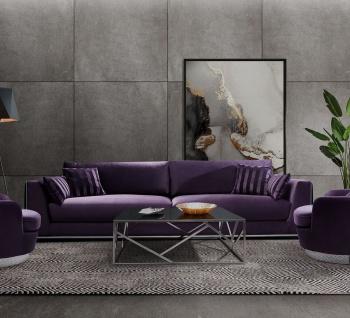 Casa Padrino Luxus Sofa Lila / Silber 300 x 102 x H. 61 cm - Wohnzimmer Sofa mit dekorativen Kissen - Luxus Wohnzimmer Möbel