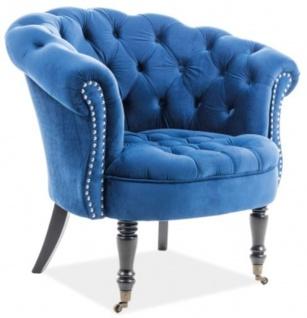 Casa Padrino Chesterfield Sessel 87 x 78 x H. 83 cm - Verschiedene Farben - Eleganter Salon Sessel mit edlem Samtsoff - Chesterfield Möbel