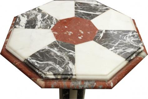 Casa Padrino Barock Marmor Beistelltisch mit Messing Verzierung - Marmor Tisch - Art Deco Neoklassisch Möbel - Vorschau 2