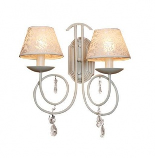 Casa Padrino Barock Wandleuchte mit Kristall-Deco, Weiss - Leuchte Lampe