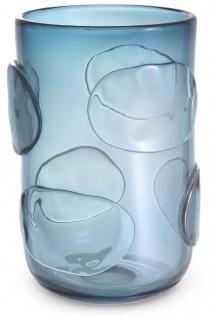 Casa Padrino Luxus Deko Glas Vase Blau Ø 23 x H. 34 cm - Elegante mundgeblasene Blumenvase - Luxus Kollektion