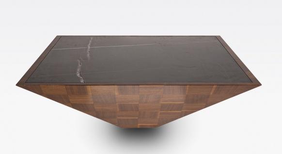 Casa Padrino Luxus Couchtisch Braun / Schwarz 100 x 100 x H. 35 cm - Moderner quadratischer Massivholz Wohnzimmertisch mit Marmorplatte - Wohnzimmer Möbel