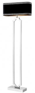 Casa Padrino Luxus Stehleuchte Silber / Schwarz / Grau 55 x 20 x H. 169 cm - Luxus Edelstahl Lampe