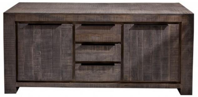 Casa Padrino Landhausstil Sideboard Grau 175 x 50 x H. 76 cm - Massivholz Schrank mit 2 Türen und 3 Schubladen - Wohnzimmer Möbel