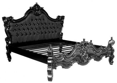 Barock Bett Barocco Schwarz Satinstoff / Schwarz mit Bling Bling Glitzersteinen 180 x 200 cm aus der Luxus Kollektion von Casa Padrino