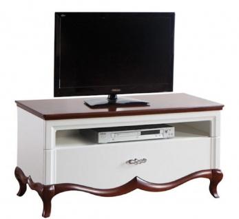 Casa Padrino Luxus Art Deco Sideboard mit Schublade Weiß / Dunkelbraun 114 x 46, 5 x H. 55, 7 cm - Fernsehschrank - Wohnzimmermöbel