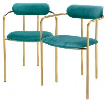 Casa Padrino Luxus Esszimmerstühle mit Armlehnen Türkis / Gold 53 x 50 x H. 74 cm - Küchenstühle mit edlem Samtstoff - Esszimmer Set - Esszimmer Möbel