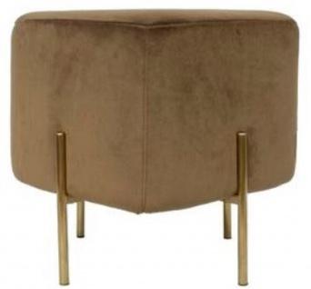 Casa Padrino Luxus Sitzhocker Braun / Messingfarben 40 x 40 x H. 45 cm - Designer Wohnzimmermöbel