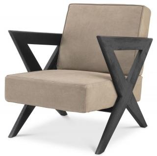 Casa Padrino Luxus Echtleder Sessel Beige / Schwarz 63 x 79 x H. 76 cm - Wohnzimmer Sessel mit edlem Büffelleder - Luxus Möbel