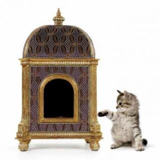 Casa Padrino Barock Luxus Katzenhaus Golden Temple - Möbel Katze Haus Sitz Tiermöbel