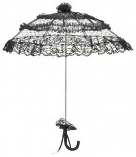 MySchirm Designer Brautschirm Hochzeitsschirm in schwarz mit gepunktetem Tüll - romantischer Decoschirm