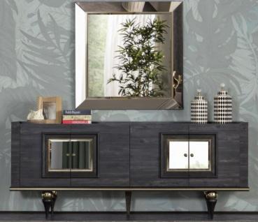 Casa Padrino Luxus Art Deco Sideboard Grau / Schwarz / Messingfarben 210 x 44 x H. 86 cm - Edler Schrank mit 4 Türen - Art Deco Möbel