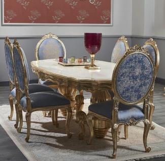 Casa Padrino Luxus Barock Esszimmer Set - Prunkvoller Esstisch und 6 Esszimmerstühle - Barock Esszimmermöbel