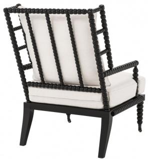 Casa Padrino Luxus Mahagoniholz Sessel Schwarz / Weiß 72 x 95 x H. 108, 5 cm - Hotel Möbel - Vorschau 2