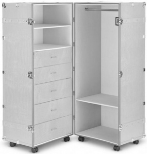Casa Padrino Luxus Kunstleder Kofferschrank mit Rollen Weiß / Silber 60 x 86 x H. 143 cm - Schrankkoffer im Vintage Stil - Luxus Accessoires