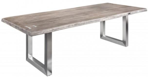Casa Padrino Massivholz Esstisch Grau / Silber 200 x 100 x H. 77 cm - Küchentisch mit massiver Akazienholz Tischplatte und Edelstahl Beinen - Massivholz Esszimmer Möbel