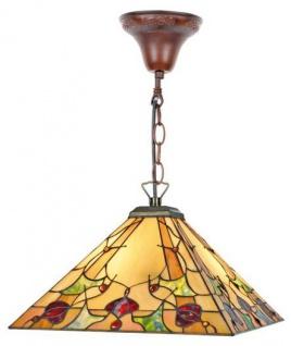 Casa Padrino Tiffany Deckenleuchte / Hängeleuchte mit Kette Mosaik Glas Eckig 40x 40 cm - Leuchte Lampe