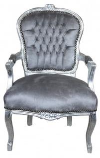 Casa Padrino Barock Salon Stuhl Grau / Silber - Möbel Antik Stil
