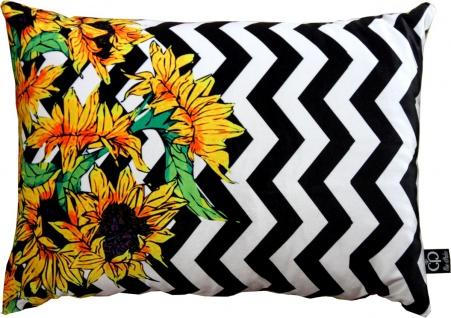 Casa Padrino Luxus Deko Kissen Virginia Sunflowers Schwarz / Weiß / Mehrfarbig 35 x 55 cm - Feinster Samtstoff - Wohnzimmer Kissen
