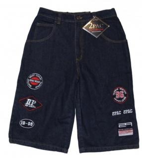 2Pac Skateboard Herren Jeans Shorts Patch Dark Blue