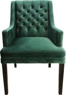 Casa Padrino Designer Esszimmer Stuhl mit Armlehnen Grün / Schwarz- Hoteleinrichtung - Buchenholz - Chesterfield Design