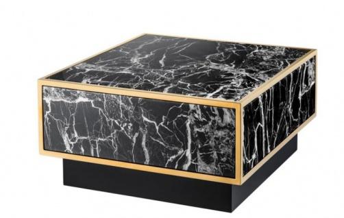 Casa Padrino Art Deco Luxus Couchtisch Kunstmarmor Gold finish 4er Set - Wohnzimmer Salon Tisch - Luxus Möbel - Vorschau 4