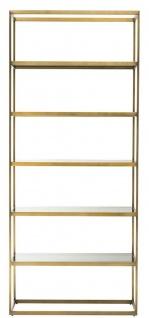 Casa Padrino Luxus Regalschrank Messing / Grau 95 x 40 x H. 225 cm - Edelstahl Schrank mit 5 Glasregalen - Büromöbel - Wohnzimmermöbel - Vorschau 2
