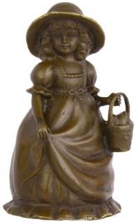 Casa Padrino Jugendstil Tischglocke Mädchen mit Korb Bronze / Gold 7, 1 x 6, 5 x H. 12, 4 cm - Tischklingel Service Glocke aus Bronze - Hotel & Gastronomie Accessoires