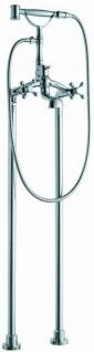 Casa Padrino Jugendstil Badewannenarmatur Silber 25, 3 x 18 x H. 118, 3 cm - Freistehende Badewannenarmatur mit Standfüßen und Handbrause - Nostalgisches Badezimmer Zubehör