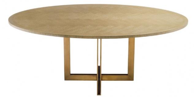 Casa Padrino Luxus Esstisch Naturfarben / Messing 200 x 120 x H. 76 cm - Ovaler Küchentisch - Luxus Esszimmer Möbel - Vorschau 3